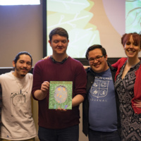 Left to right: Kaitlyn Slorey, Jason Cardenas, Austin Lewis, Tyler Hickey and Amanda Flynn reveal the 2017 issue of the Salmon Creek Journal at the recent launch party. Photo credit: Zeke Estes